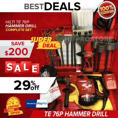 Hilti Te 76P Hammer Drill, Preowned, Free New Hilti Sid 2-A, Extras, Quick Ship