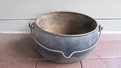 Antique Heavy Wrought Iron Couldron / Pot Primitive Fireplace Planter