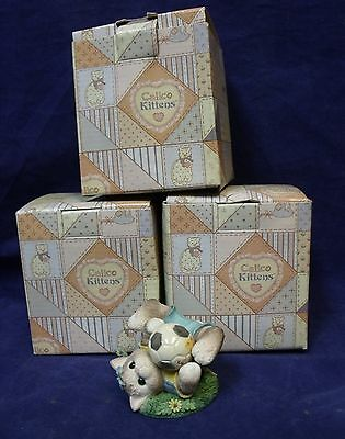 """Lot of 3 Enesco Calico Kittens """"Friends Are a Goal Worth Saving"""" Figurines"""