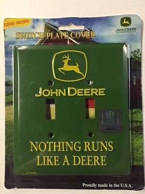 NEW John Deere Nothing Runs like a Deere Double Light Switch Plate Cover Metal