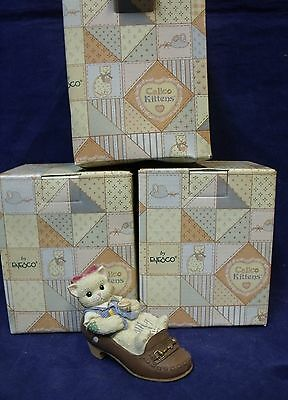 """Lot of 3 Enesco Calico Kittens """"It's a Challenge To Follow Your Footsteps"""""""