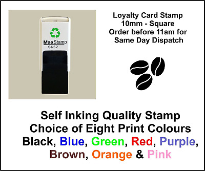 Coffee Beans Loyalty Card Stamp Professional Quality Self Inking 10mm FREE POST