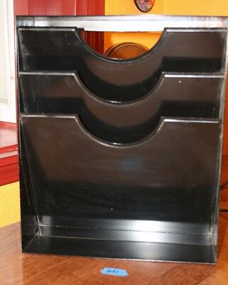 Vtg Black Industrial Office Metal Wall File Paper Magazine Rack Organizer Holder