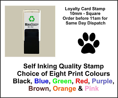 Paw Print Loyalty Card Stamp Professional Quality Self Inking 10mm FREE POST