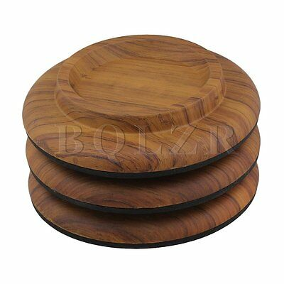 3x Rosewood Color Acrylic Grand Piano Caster Cups Pads Floor Carpet Protector
