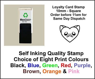 Cat Heart Loyalty Card Stamp Professional Quality Self Inking 10mm FREE POST