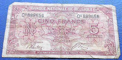 1943 National Bank of Belgium 5 Francs Banknote WWII Nice Circ # MPUR 12