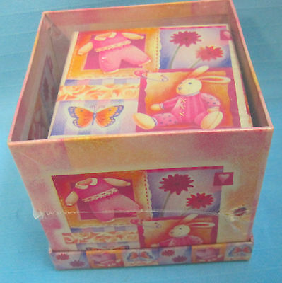 2 Small Gift Cardboard Boxes Spring Easter Bunny Design