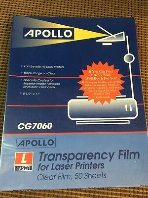 APOLLO TRANSARENCY FILM FOR LASER PRINTERS CLEAR FILM teacher presentation