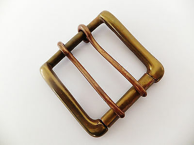 """Antique Finish  2""""- 50 mm 2 Prong Solid Cast Brass West End Single Roller Buckle"""
