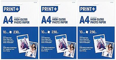 3x A4 High Gloss Photo Paper Bright White Coated Paper (30 Sheets) - New