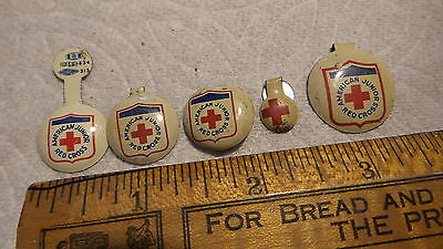 5 Vintage RED CROSS PINS Different Sizes!
