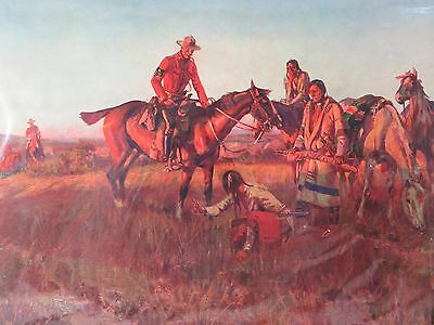 Vintage Charles M Russell Print The Queen's War Hounds, Brown & Bigelow pre 1930