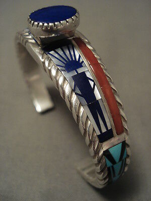 Intense And Intricate Inlay Navajo Silver Coral Bracelet