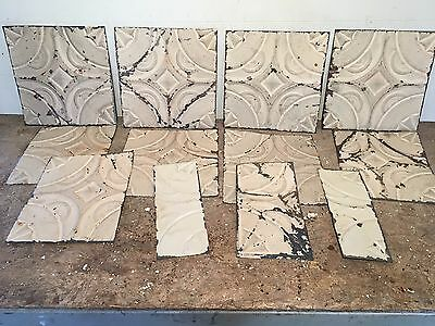 "Lot of 12 pc 12"" x var"" Antique Ceiling Tin Tile Vintage Reclaimed Salvage Art"