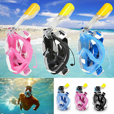 2017 Snorkel Mask 180° Full Face Surface Diving Swimming for GoPro Camera AU