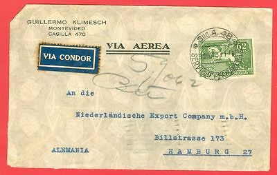 Uruguay 62c Pagasus Solo used on Air Mail cover Via CONDOR to Germany 1937