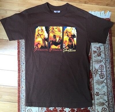Shakira The Sun Comes Out 2002 Tour WOMEN'S Brown Concert T-Shirt Size Small