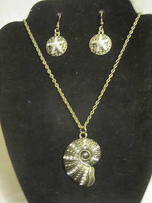 Antique Brass/Crystal Nautilus Shell Necklace and Star Fish Earrings Set~LBDLR