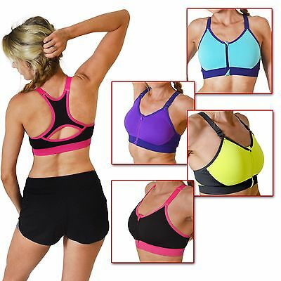 FreetoMove Ladies Adjustable Zip Front Supportive Sports Bra - 4 Colours