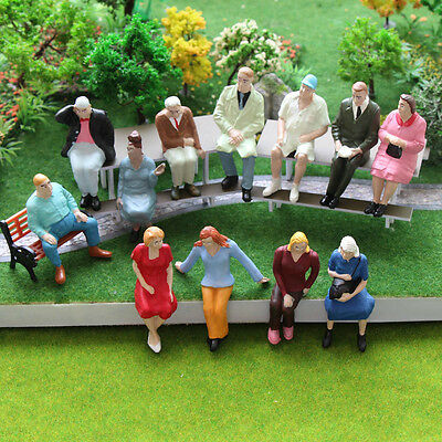 P2513 12pcs G scale Figures 1:22.5-1:25 All Seated  Painted People Model Railway