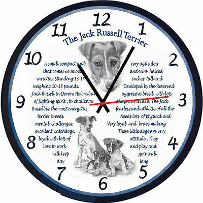 """Jack Russell  Terrier Origins & Facts  Large 11""""  Gift Boxed Wooden Wall Clock"""