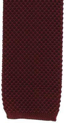 Michelsons of London Skinny Silk Knitted Tie - Wine Red
