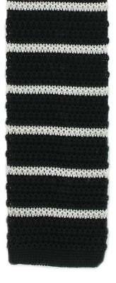 Michelsons of London Silk Knitted Striped Skinny Tie - Black/White