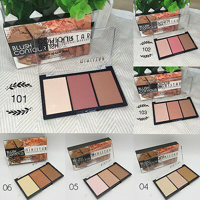 Makeup Blush Bronzer & Highlighter Contour Cosmetic 3 Color Power Palette New
