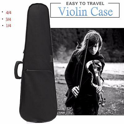 Portable Oxford Fabric Black Triangle Shape Violin Hand Box Case With Red Lining