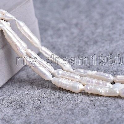 """Genuine 8-35mm Natural White Toothpick Stick Biwa Pearl Loose Beads 15"""" Long"""