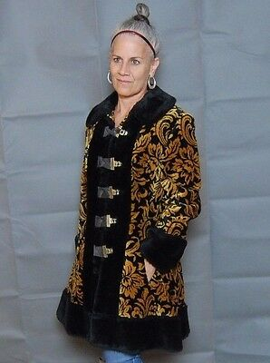 VTG 60s PRINESS COAT flora TAPESTRY black FAUX fur JACKET size SMALL
