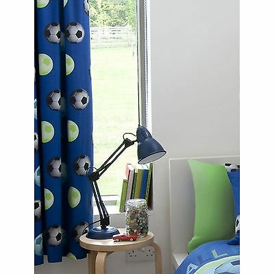"Catherine Lansfield Lined Football Curtains Blue Kids Bedroom 66"" X 72"" Free P+P"