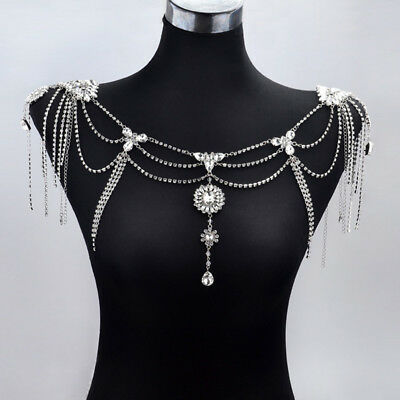 New Epaulet Crystal Wedding Bridal Shoulder Chain Strap Prom Necklace Jewelry