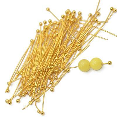 100pcs 30mm Light Golden Brass Ball Pins for Jewelry Making Findings Headpin