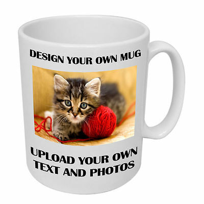 Personalised Mugs - Upload Any Photos or Text - Custom Made Mugs Gloss Finish