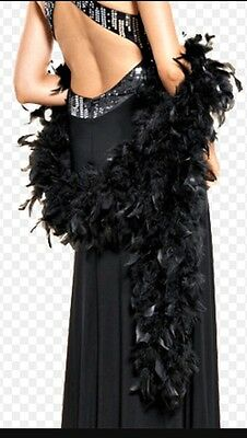 VINTAGE BLACK ROOSTER FEATHER BOA Long (2 Meters)