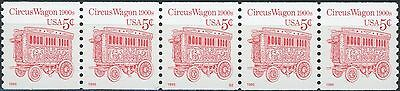 Circus Wagon Luminescent Dated Semi-Gloss Gum PNC5 PL S2 MNH Scott's 2452DV