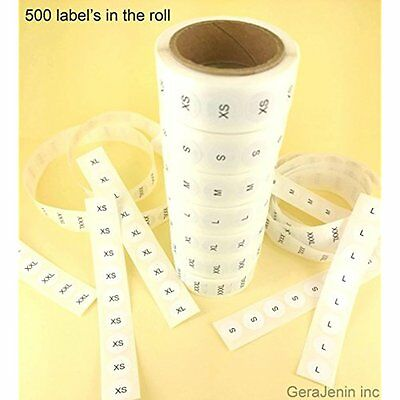 Set of 7 White Round Retail Size Stickers Adhesive 500 Labels Clothing Retail