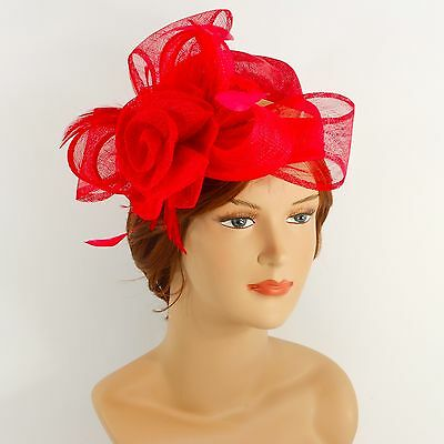 New Woman Church Derby Wedding Sinamay Pillbox Dress Hat SDL-009 Red