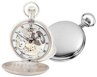 Woodford Sterling Silver Polished Double Hunter Skeleton Swiss Pocket Watch - Si