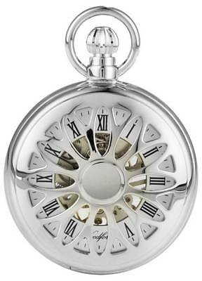 Woodford Chrome Plated Cut Out Half Hunter Mechanical Pocket Watch - Silver