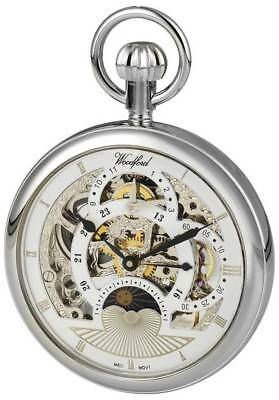 Woodford Chrome Plated Twin Time Zone Open Face Skeleton Mechanical Pocket Watch