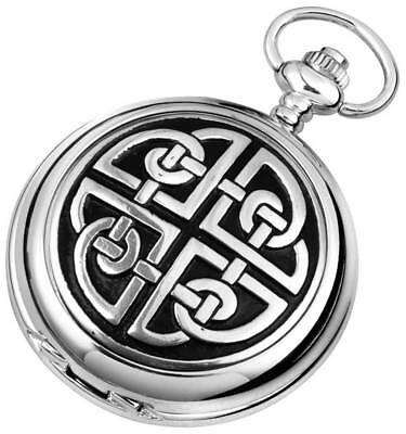 Woodford Celtic Knot Chrome Plated Double Full Hunter Skeleton Pocket Watch - Si