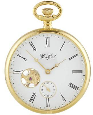 Woodford Gold Plated Open Faced Mechanical Pocket Watch - Gold