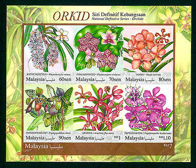 St Malaysia 2017 New National Definitive Orchids Flowers Imperf Ms Mnh Best Buy!