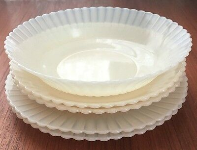 VINTAGE OPALESCENT SAUCERS(2), BREAD&BUTTER PLATES(2), and DESSERT DISH(1)