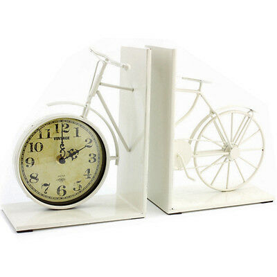 Bike Bookend Clock Chic Book End Vintage Metal Home Office Quartz Cream Organise
