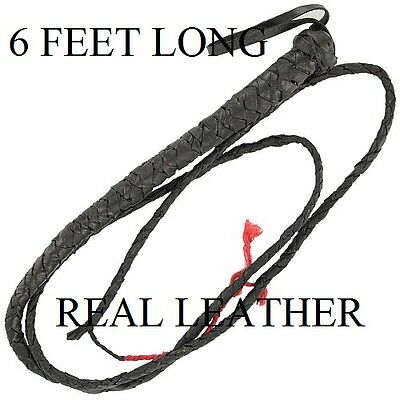 3 New 6' Leather Bull Whips , Horse Whips, Cattle Whips, Etc., Free Shipping !!
