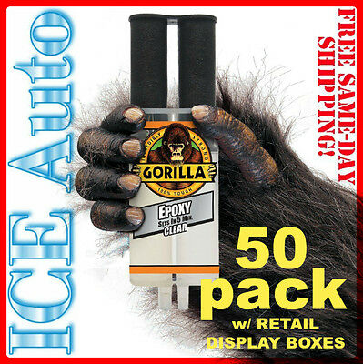 50 PACK GORILLA GLUE 4200102 Gorilla EPOXY Syringe .85 fl oz -25 ml TOUGH CLEAR